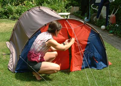 Prototype of our lightweight tent (Paul De Bie 2003)